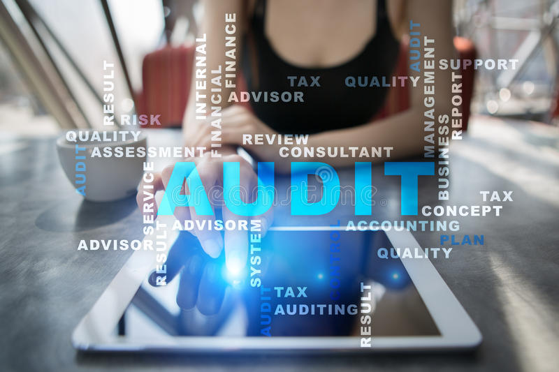 Audit business concept. Auditor. Compliance. Words cloud. Audit business concept Auditor. Compliance. Virtual screen technology. Words cloud stock image
