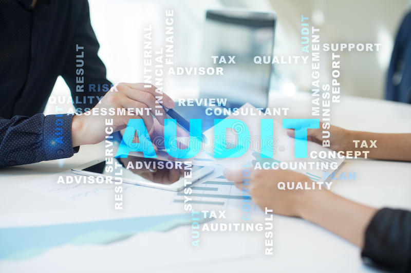 Audit business concept. Auditor. Compliance. Words cloud. Audit business concept Auditor. Compliance. Virtual screen technology. Words cloud royalty free stock photo