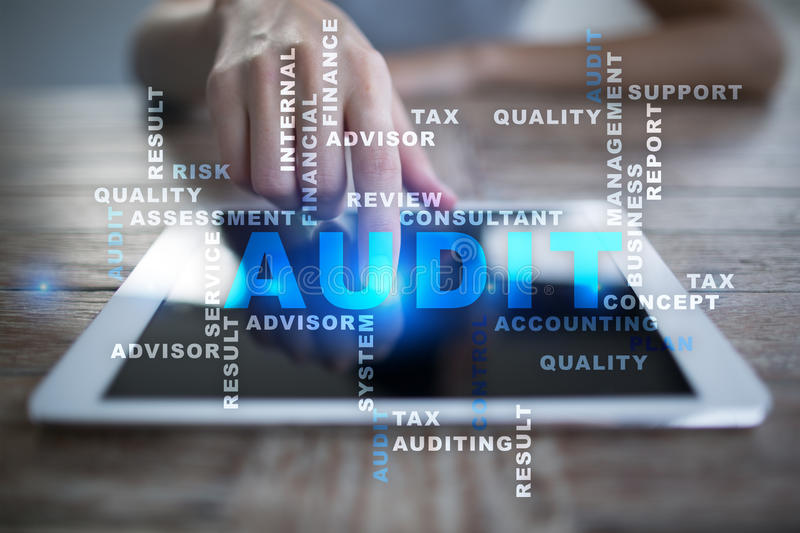 Audit business concept. Auditor. Compliance. Words cloud. Audit business concept Auditor. Compliance. Virtual screen technology. Words cloud stock images