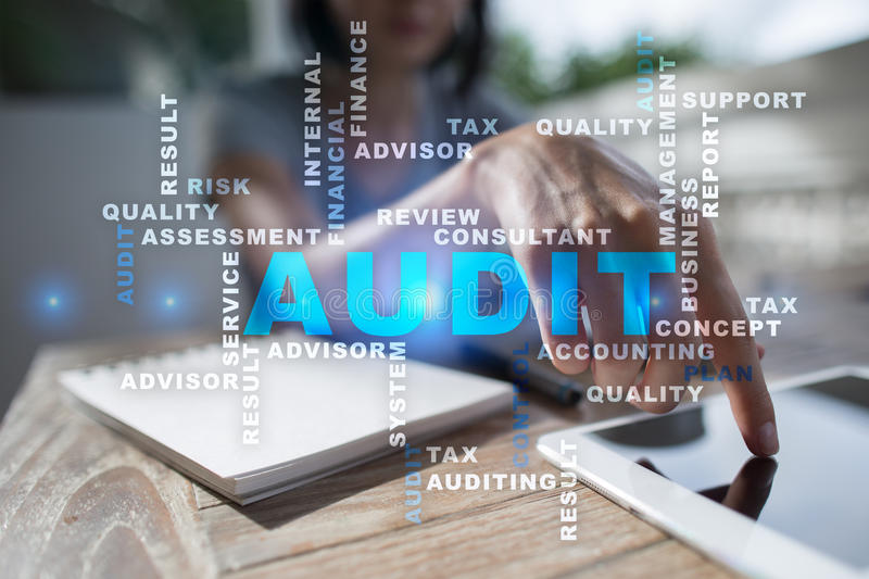 Audit business concept. Auditor. Compliance. Words cloud. Audit business concept Auditor. Compliance. Virtual screen technology. Words cloud royalty free stock image