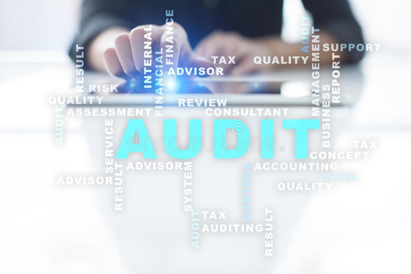 Audit business concept. Auditor. Compliance. Words cloud. Audit business concept Auditor. Compliance. Virtual screen technology. Words cloud stock photos