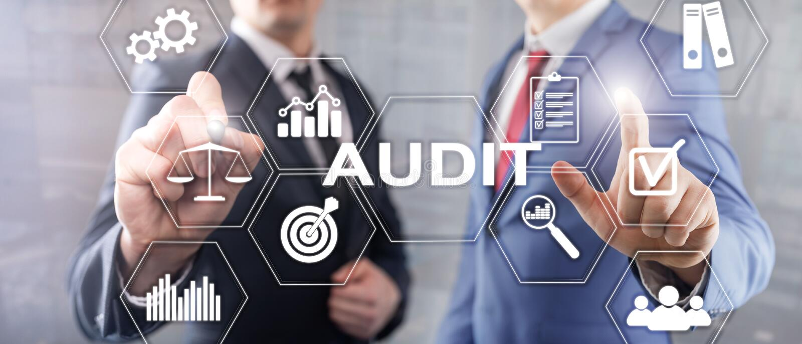Audit business and finance concept. nalysis Annual Financial Statements, Analyze return on investment. Mixed media. Abstract background royalty free stock photo