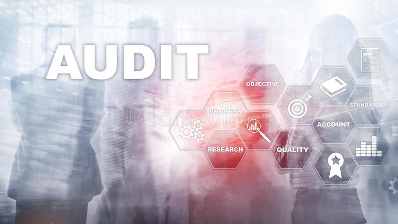 Audit business and finance concept. nalysis Annual Financial Statements, Analyze return on investment. Mixed media. Abstract background royalty free stock images
