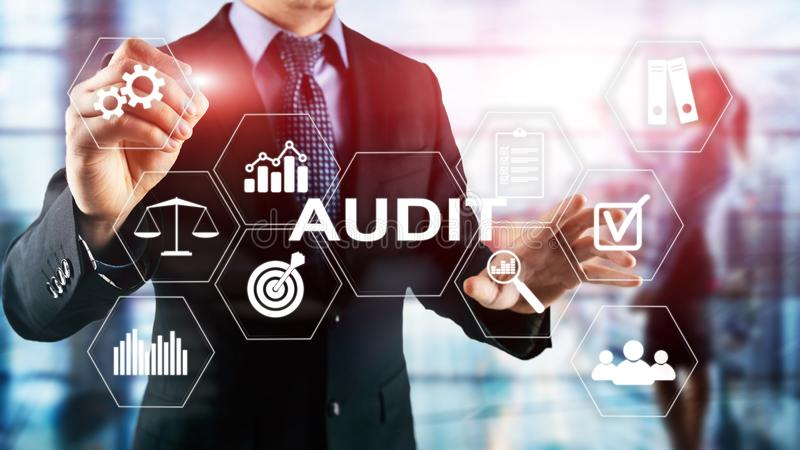 Audit business and finance concept. nalysis Annual Financial Statements, Analyze return on investment. Mixed media. Abstract background royalty free stock photos