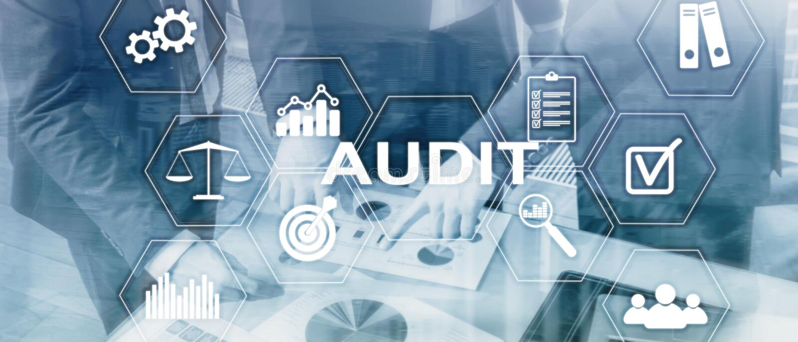 Audit business and finance concept. nalysis Annual Financial Statements, Analyze return on investment. Mixed media abstract royalty free stock photo