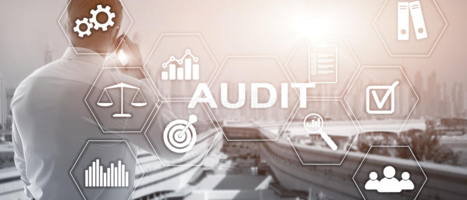 Audit business and finance concept. nalysis Annual Financial Statements, Analyze return on investment. Mixed media. Abstract background stock images