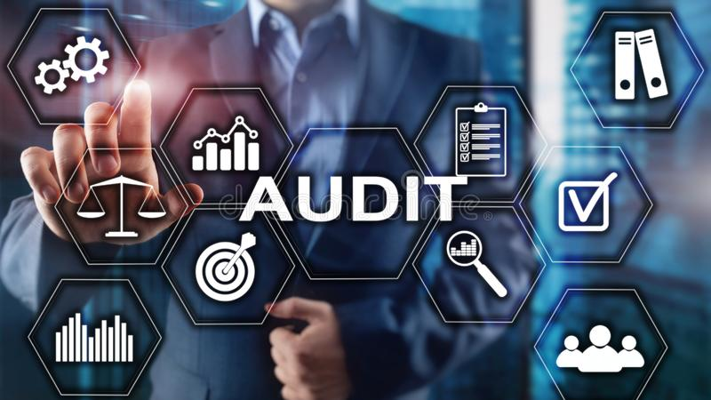 Audit business and finance concept. nalysis Annual Financial Statements, Analyze return on investment. Mixed media. Abstract background royalty free stock photography