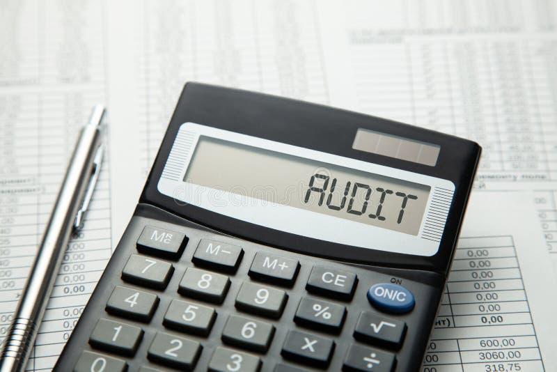 audit Calculadora na AUDITORIA da inscrição da exposição foto de stock royalty free