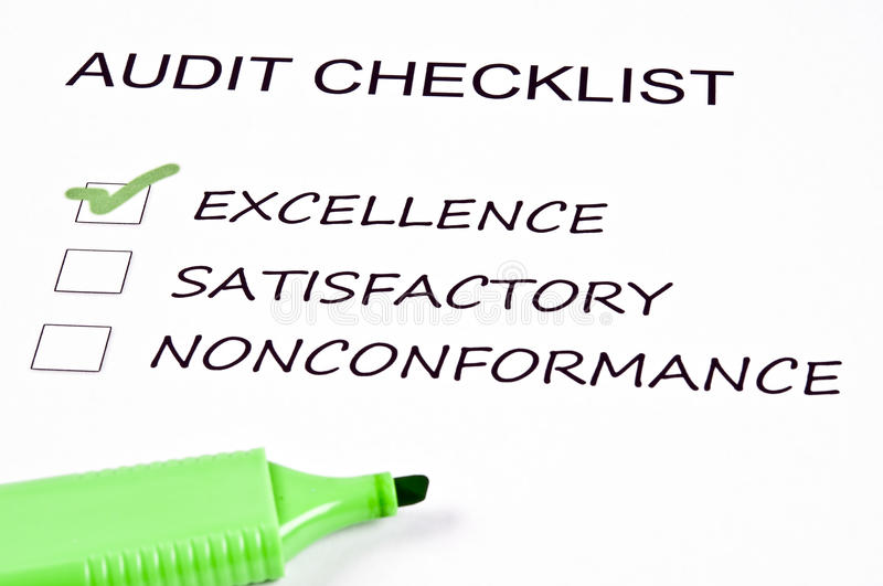 Audit checklist. And a marker stock photos