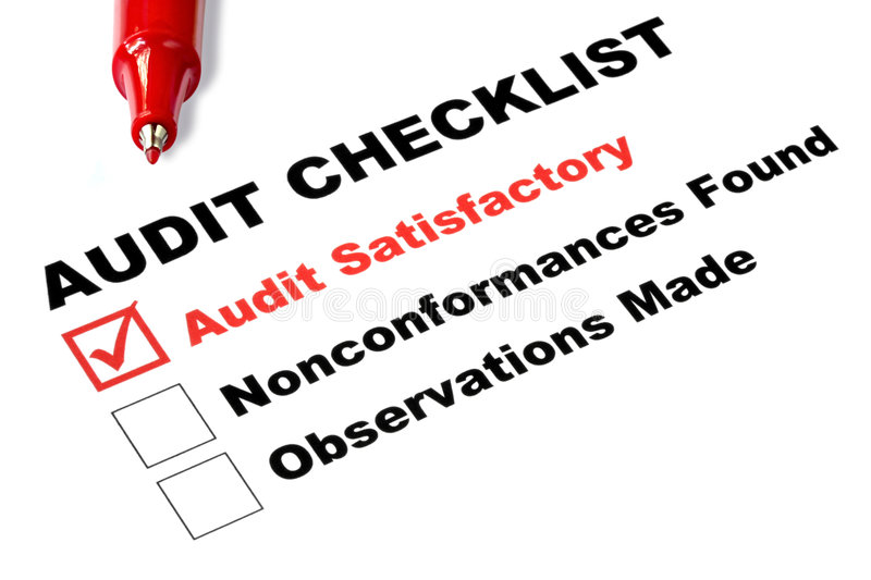 Audit Checklist. With tick against audit satisfactory stock image