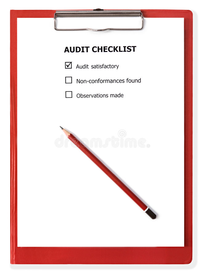 Audit Checklist on Clipboard. Audit checklist on red clipboard, with pencil. With clipping path royalty free stock photos