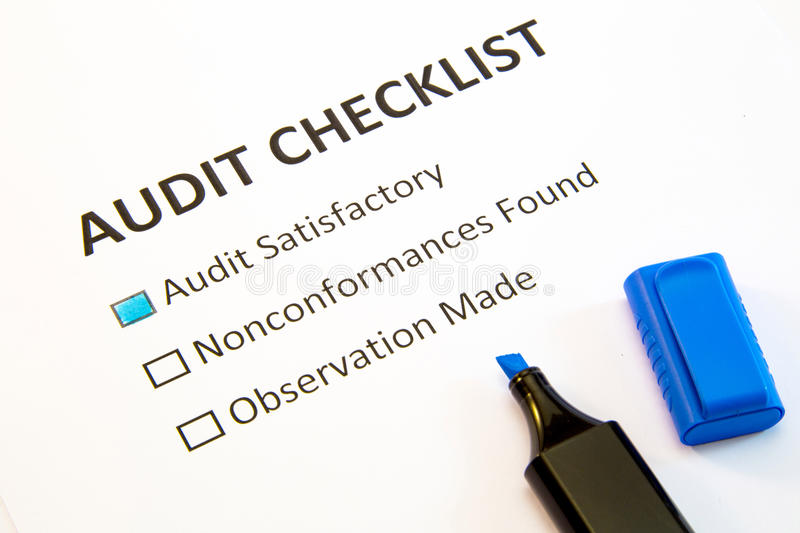 Audit checklist. Isolated on white royalty free stock photo