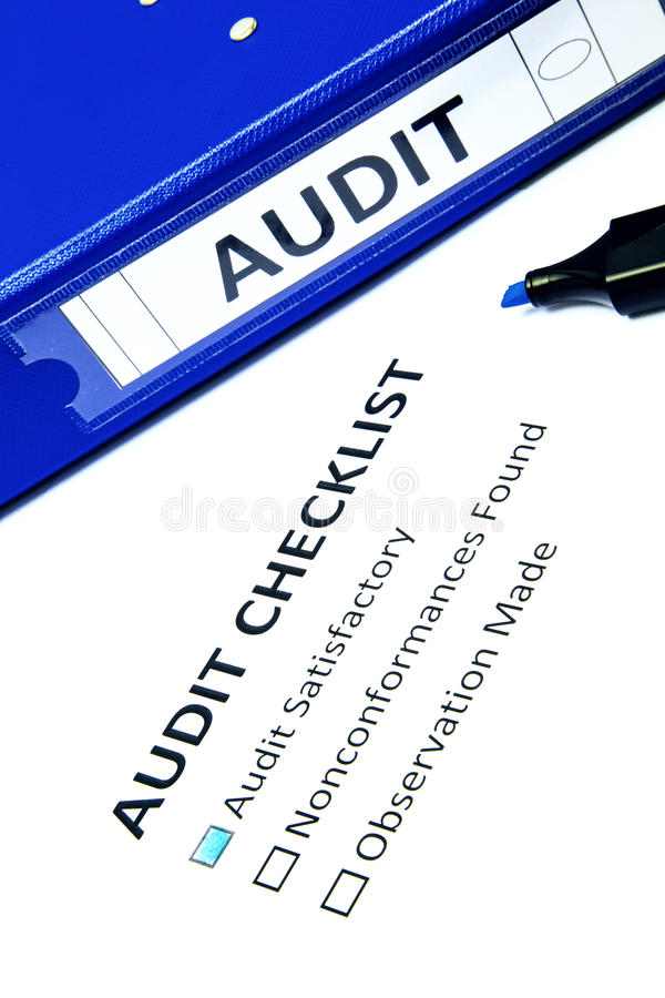 Audit checklist. Isolated on white royalty free stock images