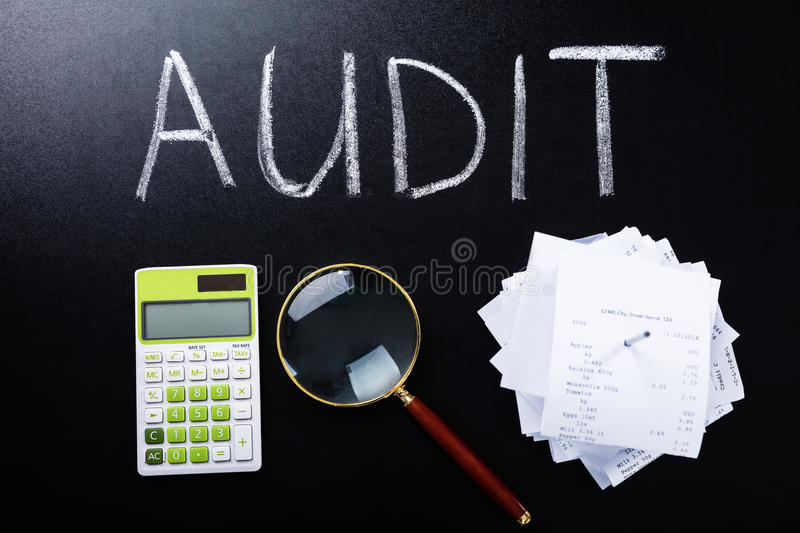 Audit Concept On Blackboard stock photos