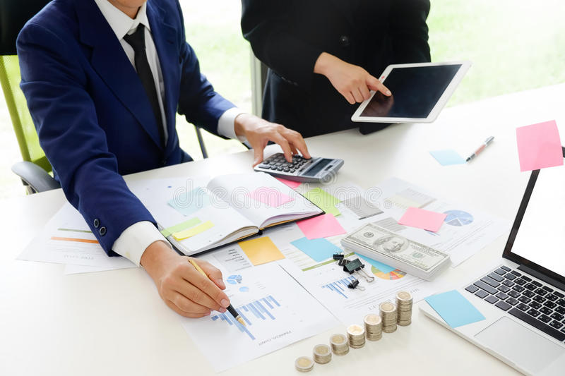 Audit concept,Bookkeeper Team or financial. Audit concept,Bookkeeper Team or financial inspector and secretary making report Financial Planning Accounting stock photo