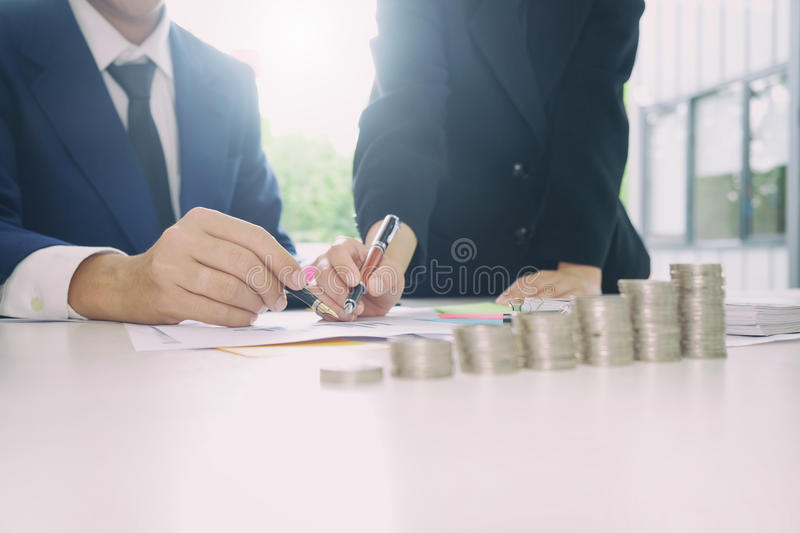 Audit concept,Bookkeeper Team or financial inspector. Audit concept,Bookkeeper Team or financial inspector and secretary making report Financial Planning royalty free stock photos