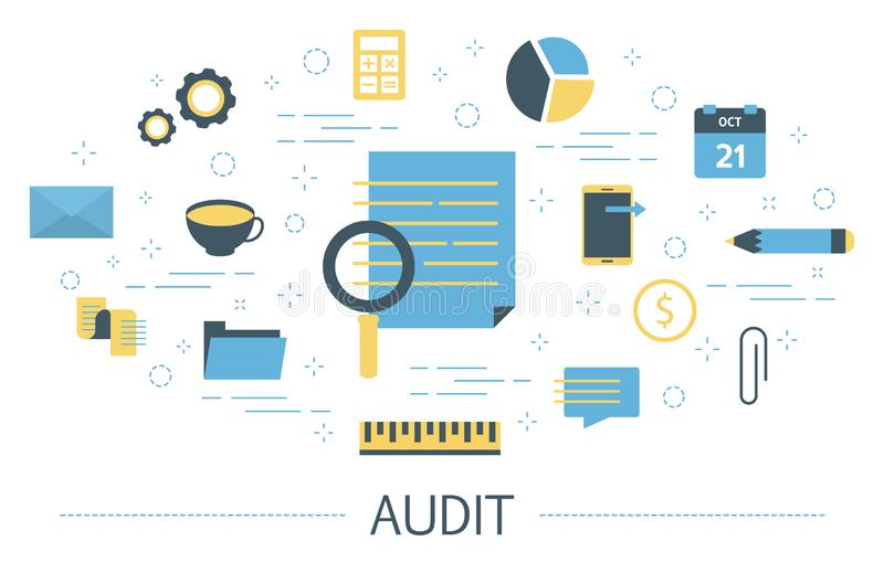 Audit concept. Business data research and analysis. royalty free illustration