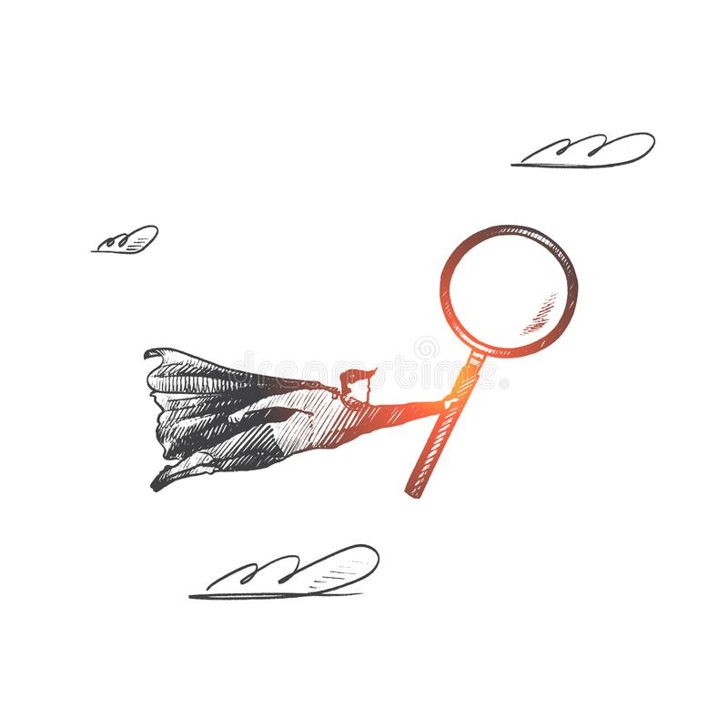 Audit concept. Hand drawn isolated vector. Audit concept. Hand drawn superhero with magnifying glass in hand. Flying hero as symbol of professional auditor stock illustration