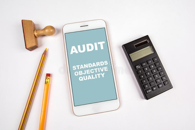 Audit concept. Standards, Objective and Quality royalty free stock images