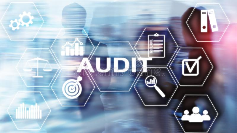 Audit Conduct an official financial examination of individuals or organizations accounts. Business concept on virtual screen stock photos