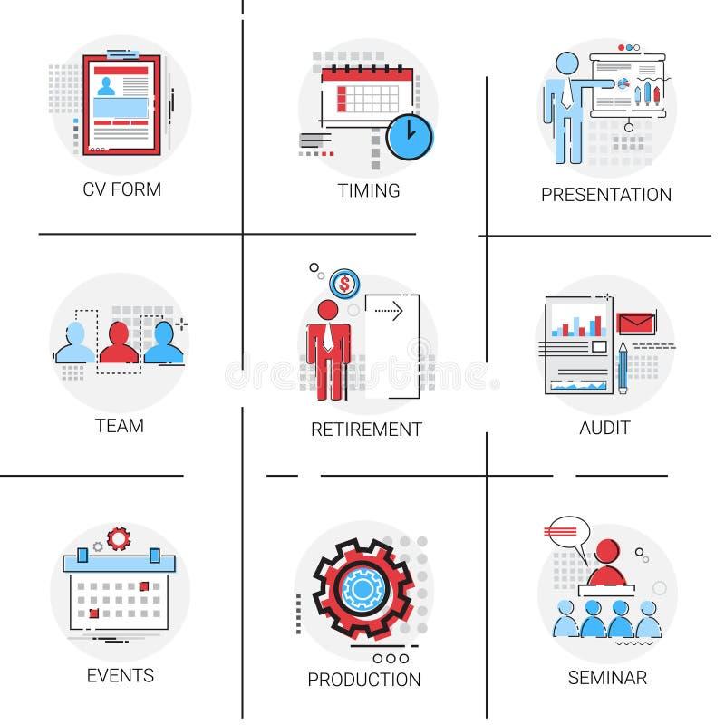 Audit Data Analysis, Human Resources Seminar Team Timing Conference Icon Set. Vector Illustration vector illustration