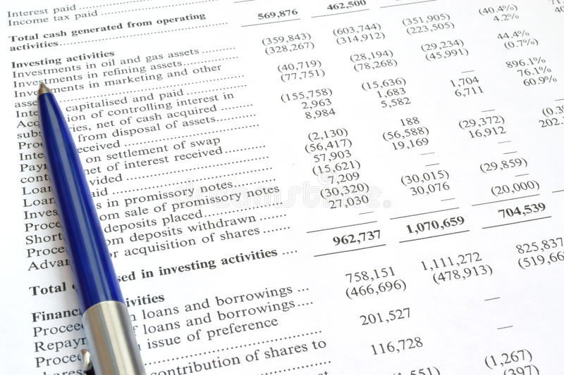 Audit de rapport financier et de stylo images libres de droits