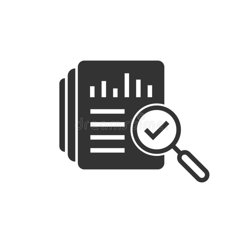 Audit document icon in flat style. Result report vector illustration on white isolated background. Verification control business royalty free illustration