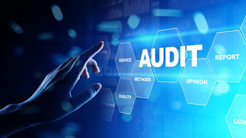 Audit - examen financier officiel pour des affaires comme concept sur l'écran virtuel illustration de vecteur