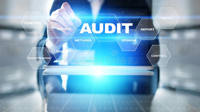 Audit - examen financier officiel pour des affaires comme concept sur l'écran virtuel illustration libre de droits