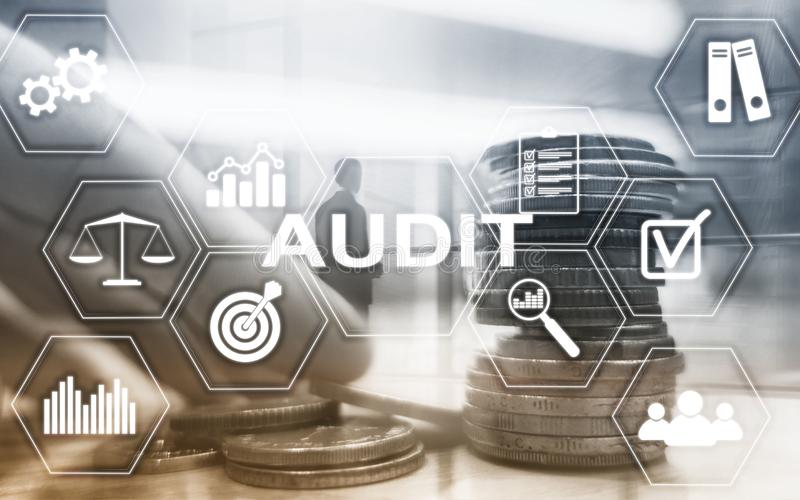 Audit Finance banking concept. Double Exposure Coins Financial and Business background. stock images