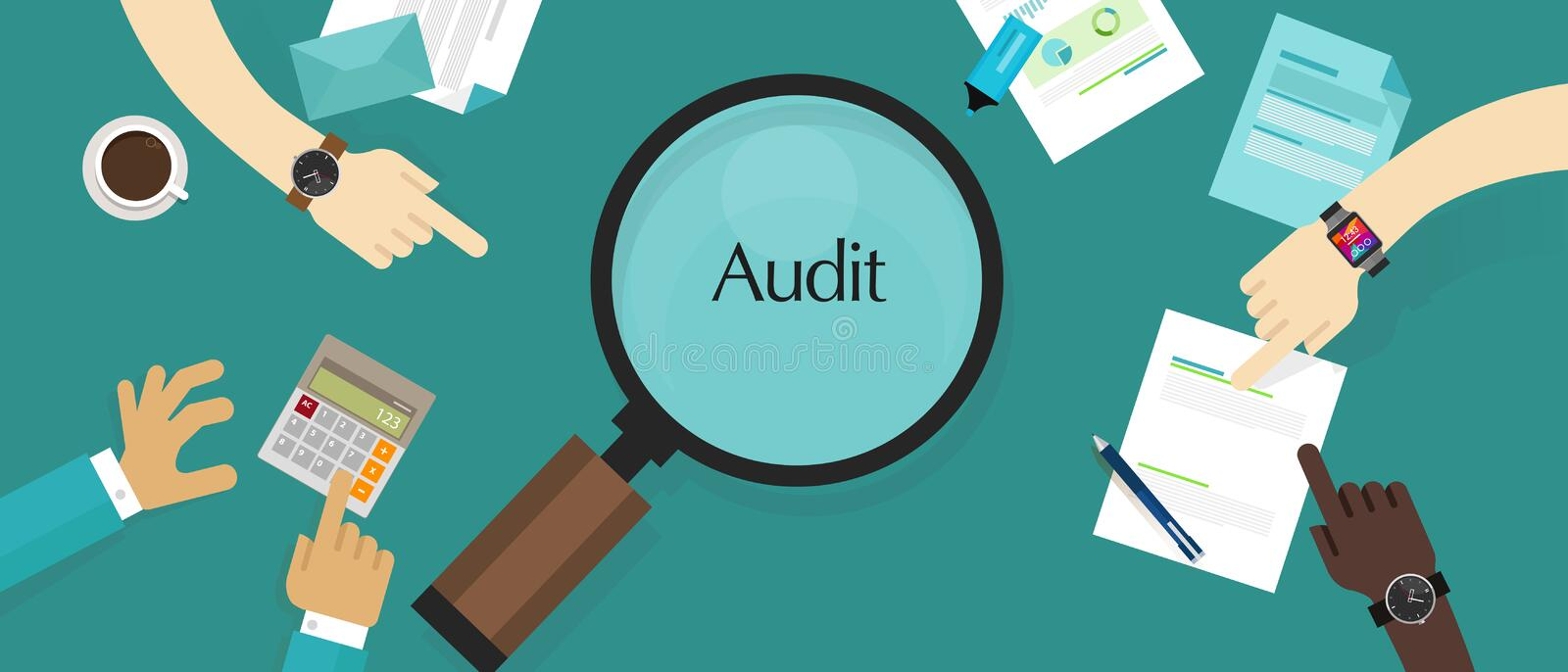 Audit financial company tax investigation process business accounting vector illustration
