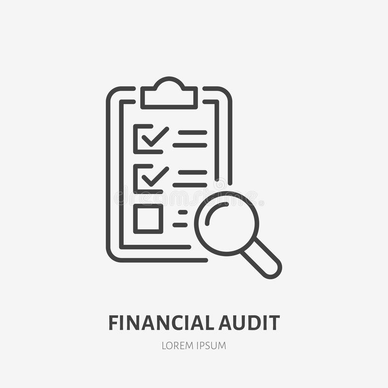 Audit flat line icon. Check list with glass sign. Thin linear logo for legal financial services, accountancy.  royalty free illustration
