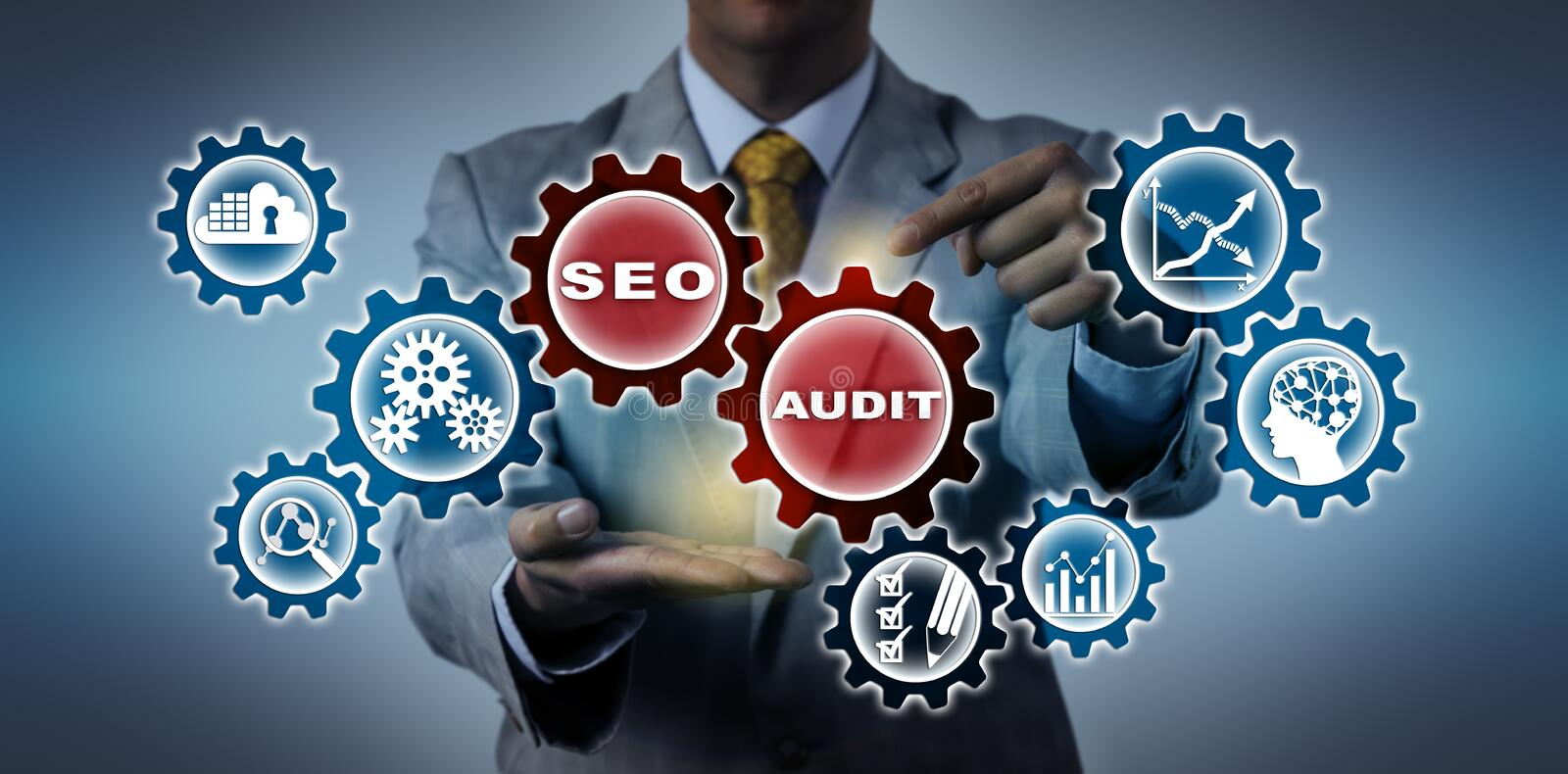 AUDIT méconnaissable de Reminding Of SEO de comptable photographie stock