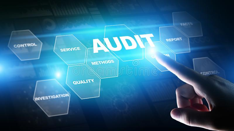 Audit - official financial examination for business as concept on virtual screen. Audit - official financial examination for business as concept on virtual royalty free stock photography