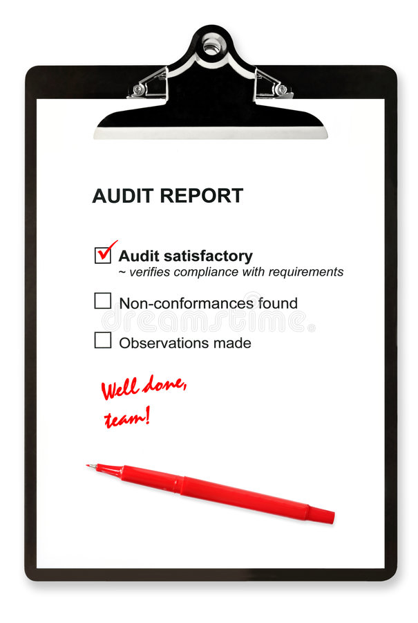 Audit Report. And red pen on clipboard, with Audit satisfactory checked, and marked well done, team royalty free stock photo