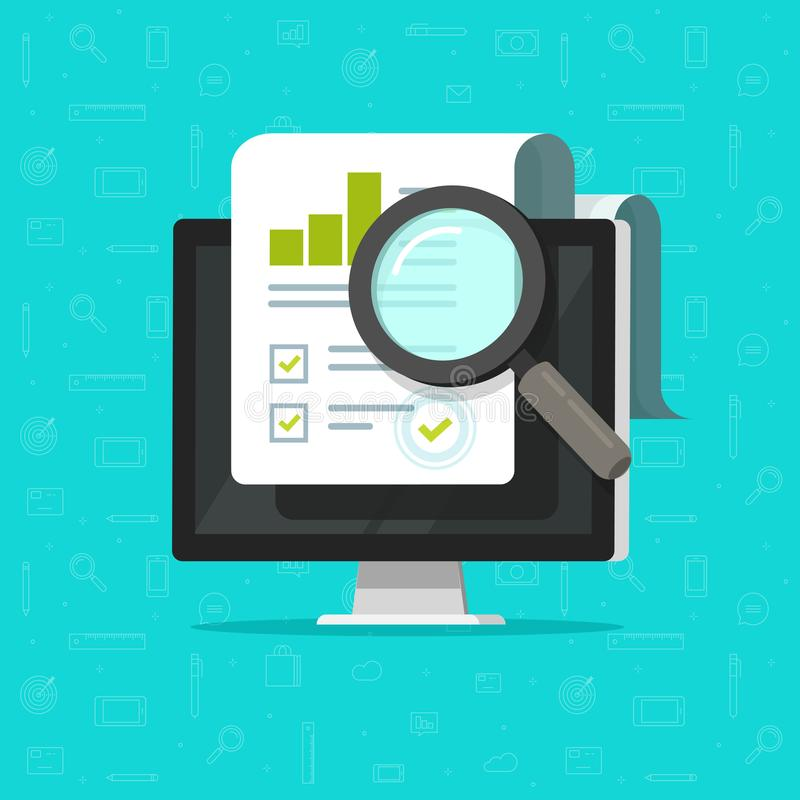 Audit research on computer vector, flat cartoon big paper financial report data analysis on pc and magnifier, concept of. Accounting analytics with graphs royalty free illustration