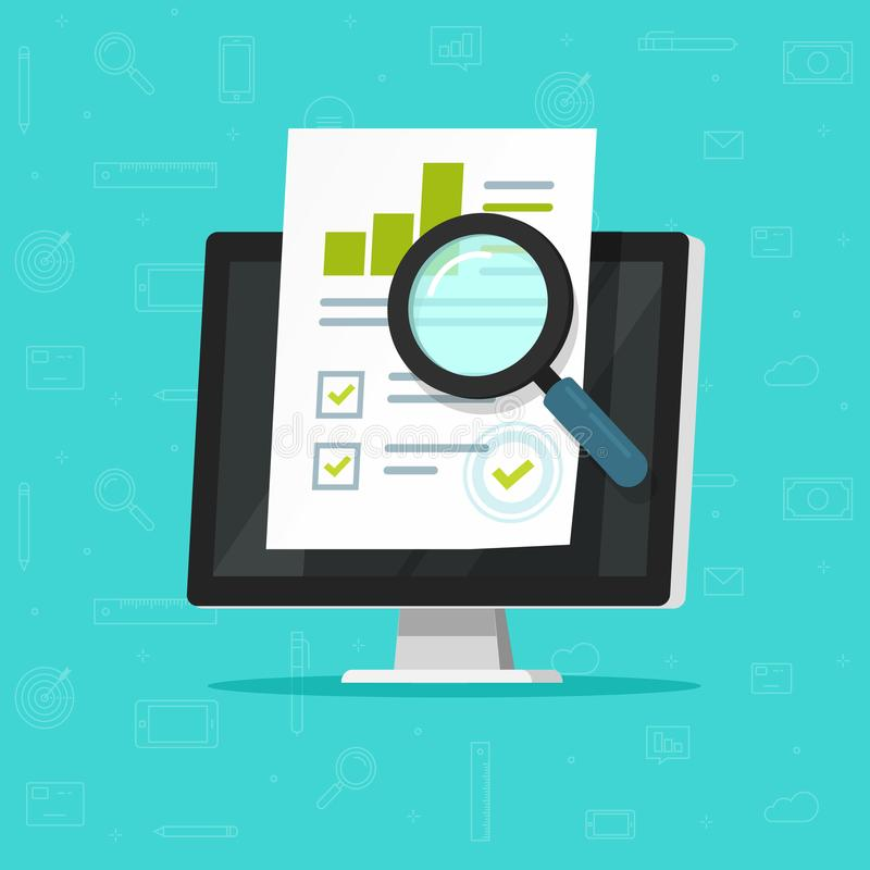 Audit research on computer vector illustration, flat cartoon paper financial report data analysis on pc, concept of. Accounting analytics with graphs and charts stock illustration