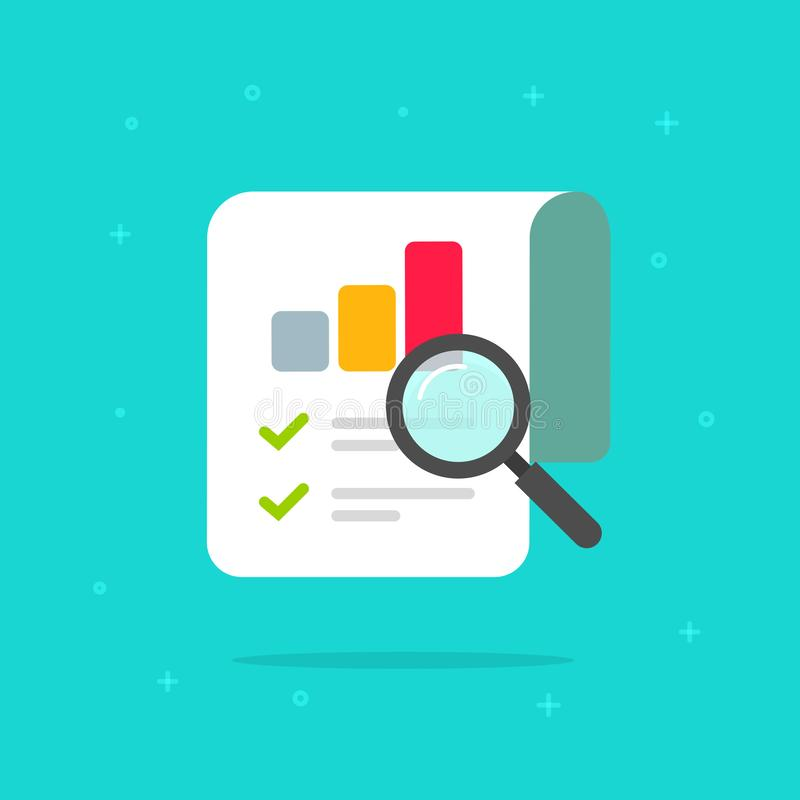 Audit research report icon vector symbol, flat cartoon design quality control evaluation pictogram, financial fraud. Check or tax analysis sign, concept of royalty free illustration