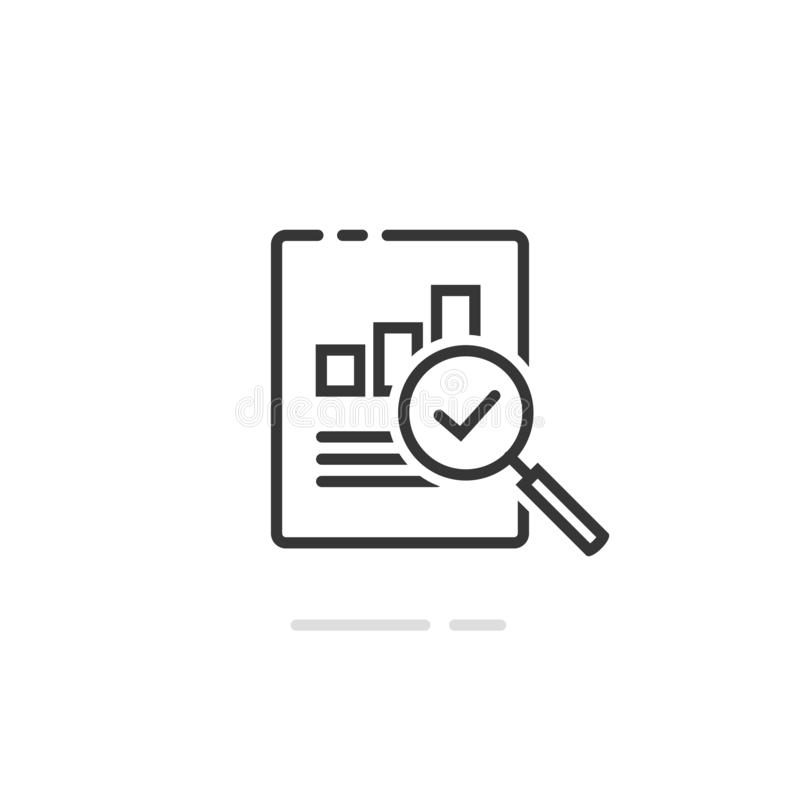 Audit research report icon vector symbol, line outline art design quality control evaluation pictogram, financial fraud vector illustration