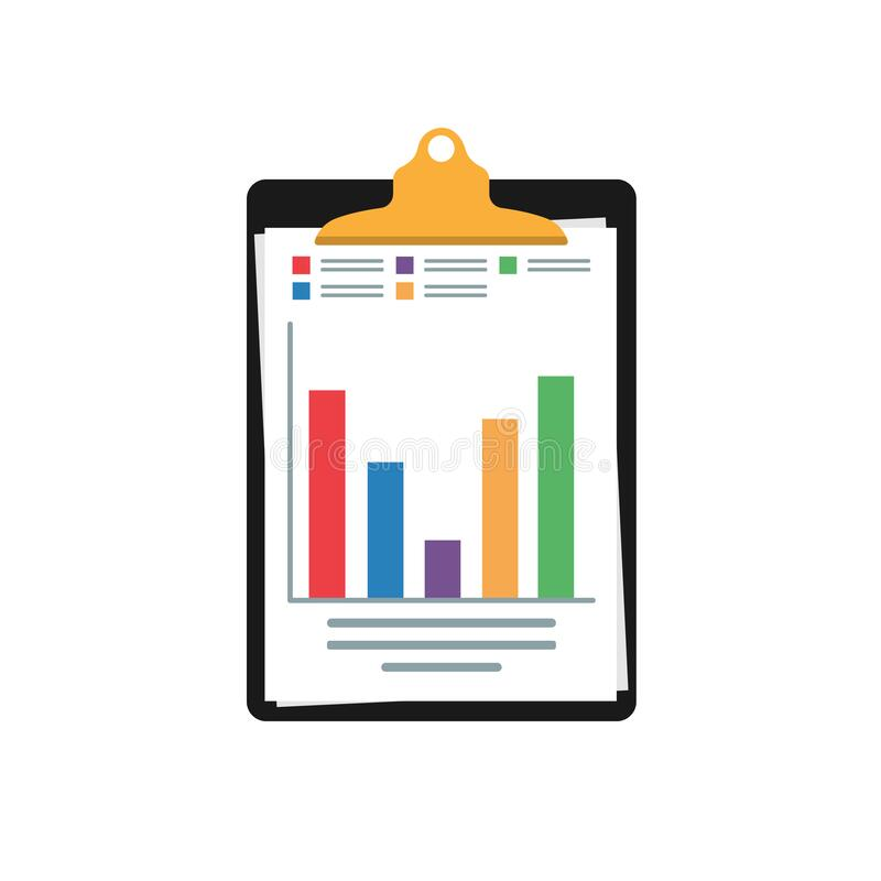 Audit research vector icon, financial report data analysis, accounting analytics concept with charts and diagrams royalty free illustration