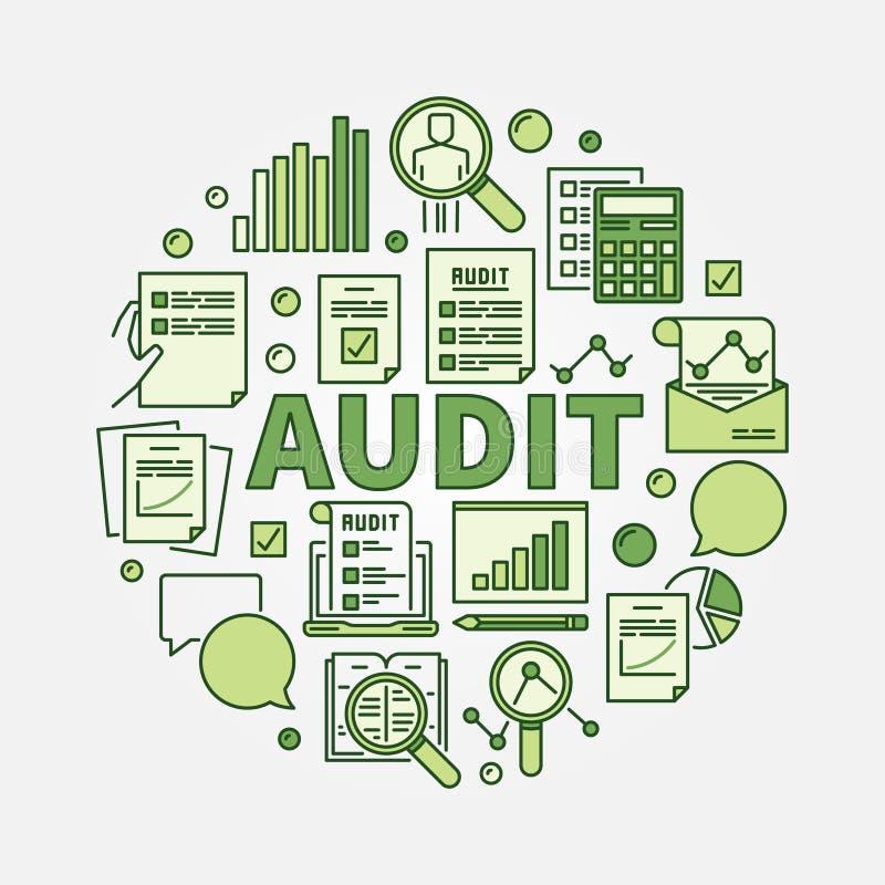 Audit round illustration. Vector business colorful sign. Financial audit green symbol vector illustration