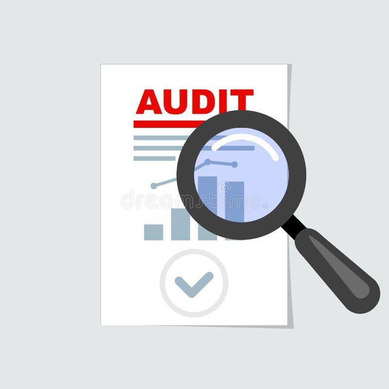 Auditando el icono - lupa en informe, concepto de la auditoría libre illustration