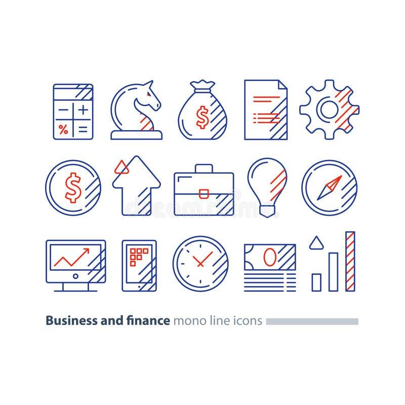 Audite los servicios, consulta financiera, idea de la estrategia de inversión del dinero, línea icono ilustración del vector