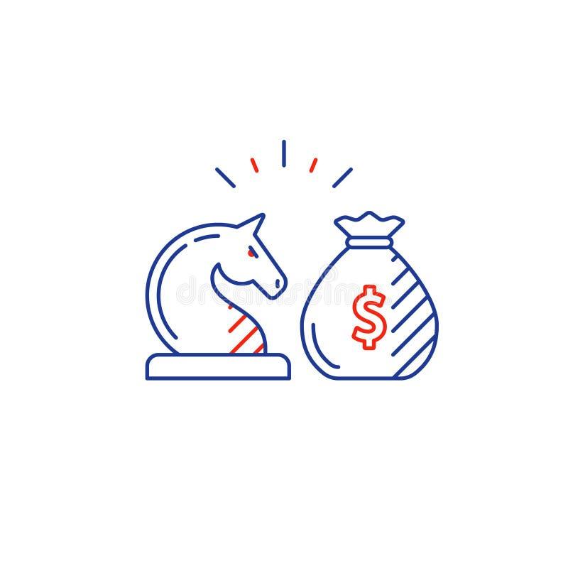 Audite los servicios, consulta financiera, idea de la estrategia de inversión del dinero, línea icono stock de ilustración