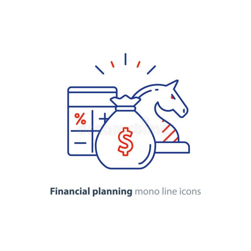 Audite los servicios, consulta financiera, idea de la estrategia de inversión del dinero, línea icono libre illustration