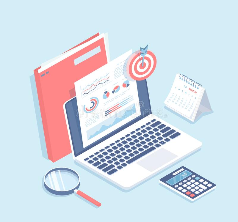 Free Auditing, Analysis, Accounting, Calculation, Analytics. Documents With Charts Graphs On The Laptop Screen, Folder, Magnifying Glas Stock Photography - 168835422