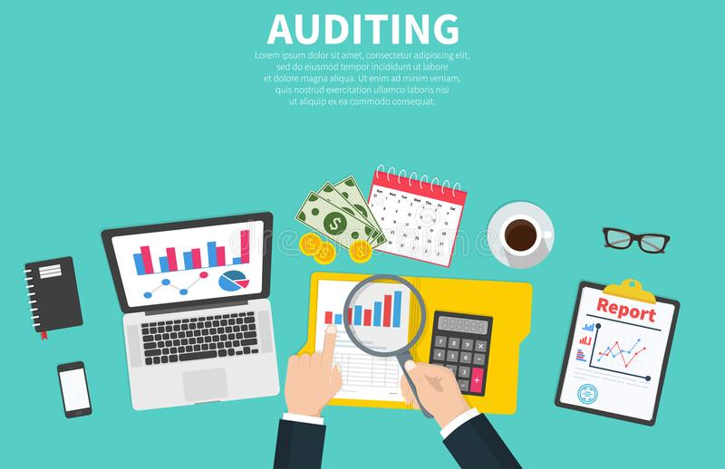 Auditing concept illustration. Tax process. Auditor during examination of financial report. Research, project management vector illustration
