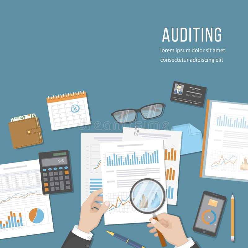 Auditing concepts. Auditor inspects financial documents. Accounting, analysis, analytics. Businessman hands with magnifying glass stock illustration
