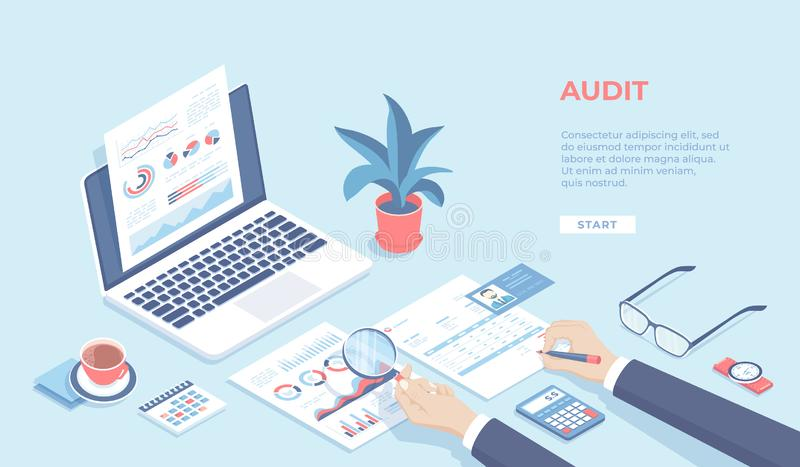 Auditing concepts. Businessman auditor inspects financial documents and fill a report form. Man`s hand with magnifier. Laptop, graphics, charts, calendar vector illustration