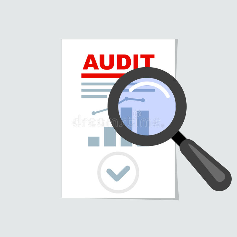 Auditing icon - magnifier on report, audit concept royalty free illustration